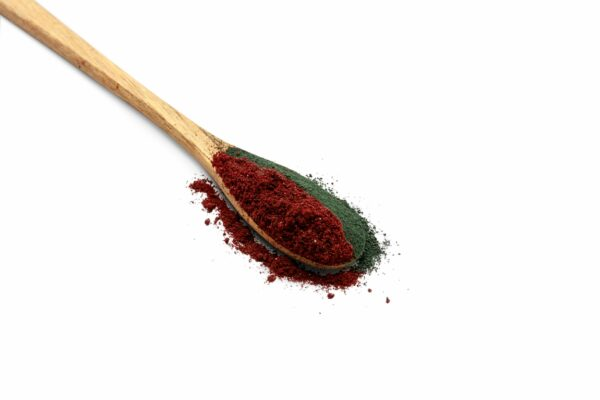 Spirulina with blackcurrant powder on wooden spoon