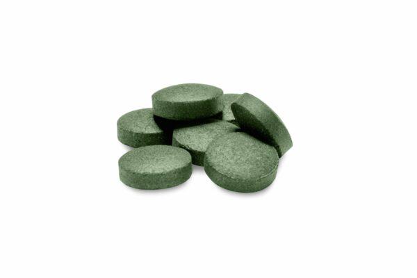 Pile of spirulina tablets
