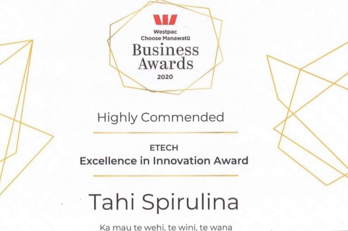 Tahi Spirulina Highly Commended Certificate